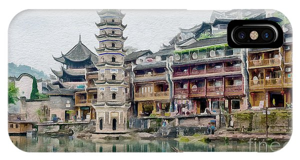 China Town iPhone Case - Fenghuang Collection - 1 by Sergey Lukashin