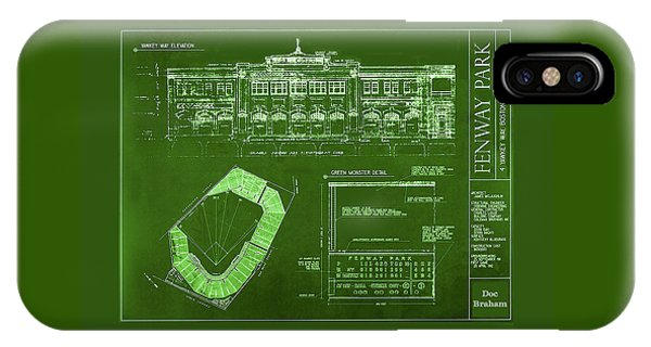 Fenway Park Blueprints Home Of Baseball Team Boston Red Sox IPhone Case