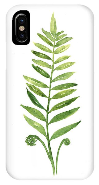Garden iPhone X Case - Fern Leaf Watercolor Painting by Joanna Szmerdt
