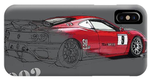 Arte iPhone Case - Ferrari 360 Michelotto Le Mans Race Car. Grey Background by Drawspots Illustrations