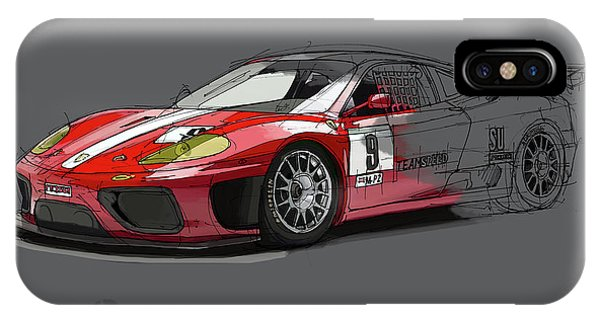 Arte iPhone Case - Ferrari 360 Michelotto Le Mans Race Car. by Drawspots Illustrations