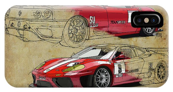 Arte iPhone Case - Ferrari 360 Michelotto Le Mans Race Car. Two Drawings One Print by Drawspots Illustrations
