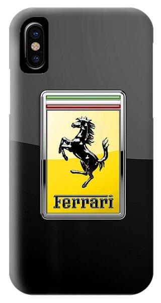 Autos iPhone Case - Ferrari 3d Badge- Hood Ornament On Black by Serge Averbukh
