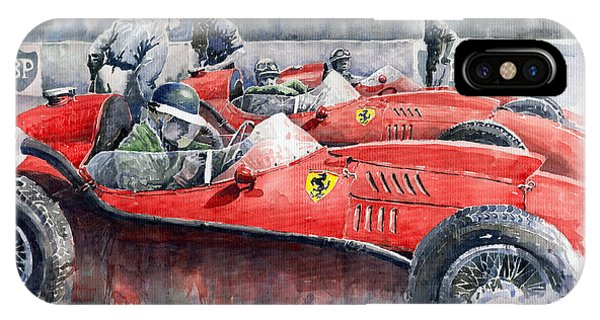 Car iPhone X Case - Ferrari Dino 246 F1 1958 Mike Hawthorn French Gp  by Yuriy Shevchuk