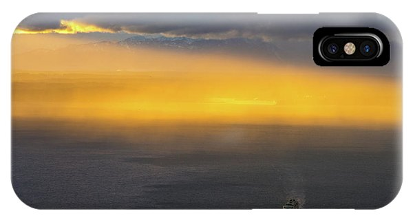 The Nature Center iPhone Case - Ferry Crossing Sunset Rain Squall by Mike Reid