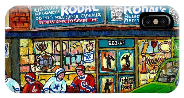 Fiddler On The Roof Painting Canadian Art Jewish Montreal Memories Rodal Gift Shop Van Horne Hockey  IPhone Case