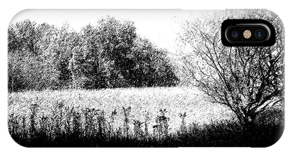 Field In Black And White Phone Case by John  Bichler