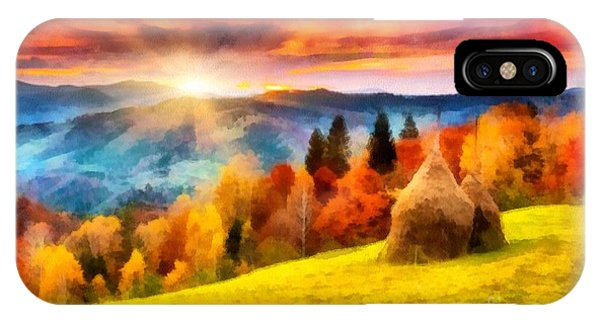 Field Of Autumn Haze Painting IPhone Case