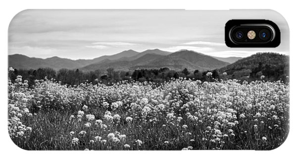 Field Of Flowers In Black And White IPhone Case