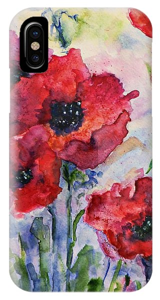Field Of Red Poppies Watercolor IPhone Case