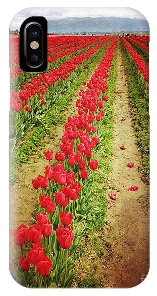 Field Of Red Tulips With Drama IPhone Case
