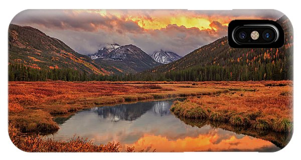 Fiery Bear River Sunset Phone Case by Johnny Adolphson