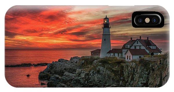 Fiery Sunrise At Portland Head Light IPhone Case