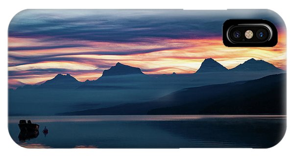 IPhone Case featuring the photograph Fiery Sunrise At Mcdonald Lake, Gnp by Lon Dittrick