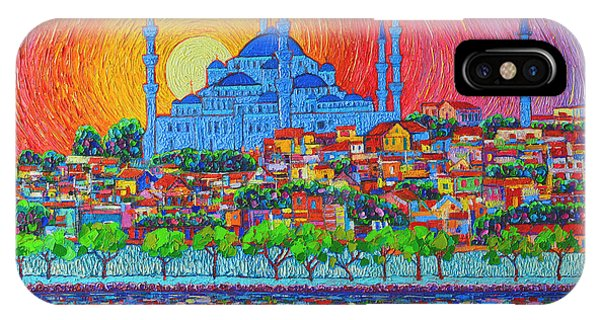 City Sunset iPhone Case - Fiery Sunset Over Blue Mosque Hagia Sophia In Istanbul Turkey by Ana Maria Edulescu