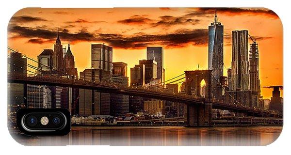 Fiery Sunset Over Manhattan  IPhone Case