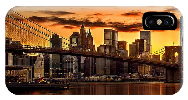 Panoramic iPhone Case - Fiery Sunset Over Manhattan  by Az Jackson