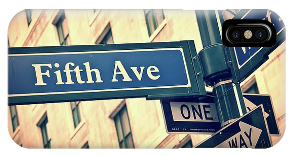 Street Sign iPhone Case - Fifth Avenue by Delphimages Photo Creations
