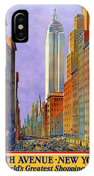Avenue iPhone Case - Fifth Avenue New York - Vintage Travel Poster by Studio Grafiikka
