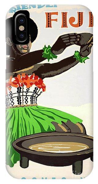 Fiji Restored Vintage Travel Poster IPhone Case