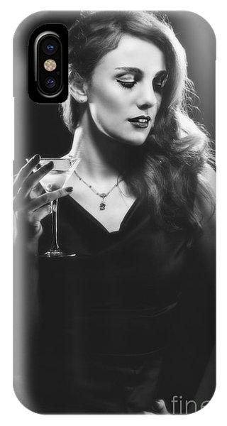 Film Noir Woman Drinking A Martini IPhone Case