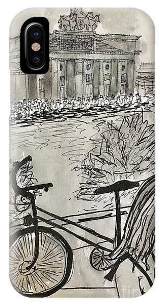 Fina And Bicycle At Brandenburg Gate IPhone Case