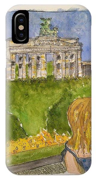 Fina At The Brandenburg Gate, Berlin IPhone Case