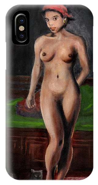 Fine Art Female Nude Standing With Cats IPhone Case