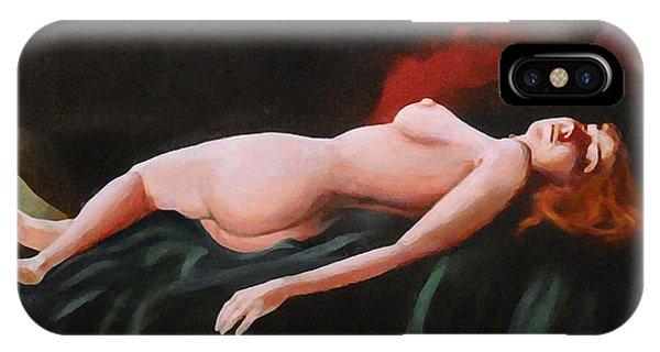 Fine Art Nude Multimedia Painting Pose Reclining2 Dark Green Spread Phone Case by G Linsenmayer
