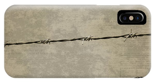 Fine Art Photograph Barbed Wire Over Vintage News Print Breaking Out  IPhone Case