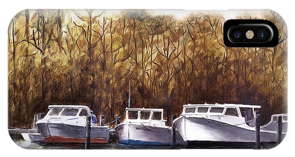 Fine Art Traditional Oil Painting 3 Workboats Chesapeake Bay IPhone Case