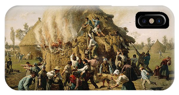 Plowing iPhone Case - Fire In A Haystack, 1856 by Jules Breton