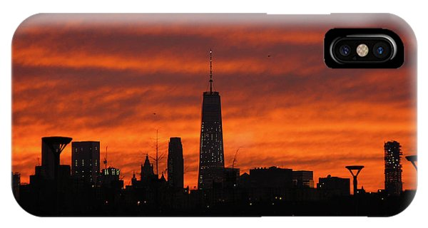 Greg Moore iPhone Case - Fire Over New York by Greg Moore