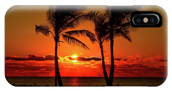 Fire Sunset Through Palms IPhone Case