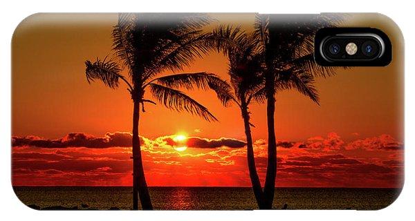 Fire Sunset Through Palms IPhone Case