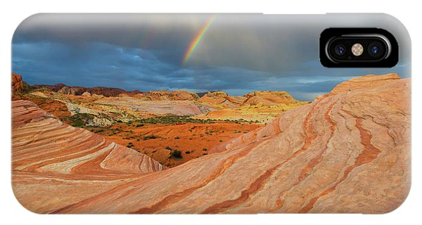 Valley Of Fire iPhone Case - Fire Wave Rainbow Dawn by Mike Dawson