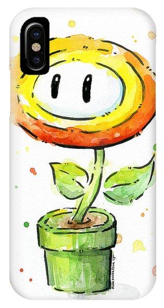 Fire iPhone Case - Fireflower Watercolor by Olga Shvartsur