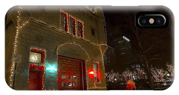 Firehouse In Xmas Lights IPhone Case