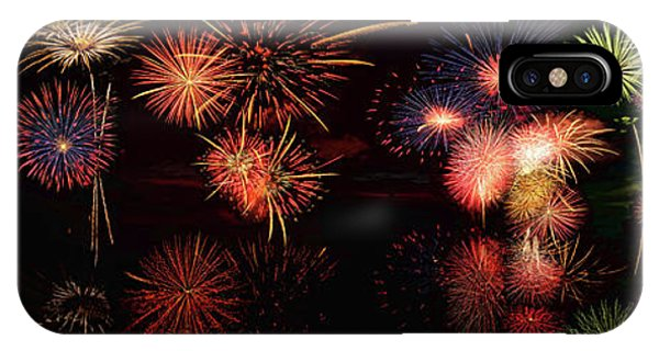 Fireworks Reflection In Water Panorama IPhone Case