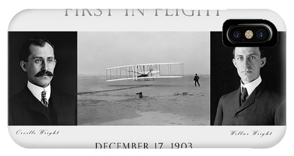 In Flight iPhone Case - First In Flight - The Wright Brothers by War Is Hell Store
