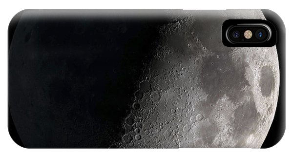 Exterior iPhone Case - First Quarter Moon by Stocktrek Images
