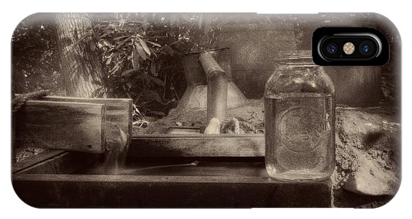 First Run Of Moonshine In Black And White Antiqued IPhone Case