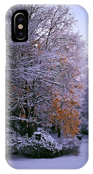 First Snow After Autumn IPhone Case