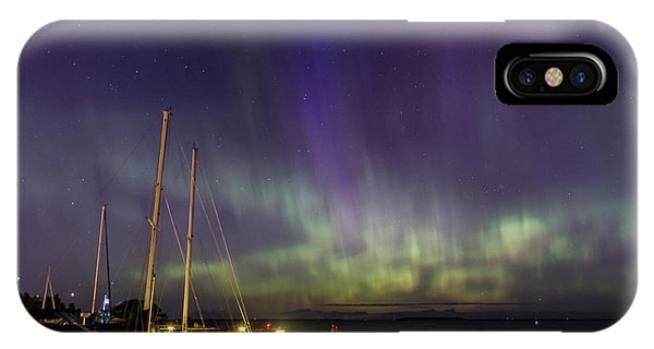 IPhone Case featuring the photograph Fish Creek Marina Northern Lights by Paul Schultz