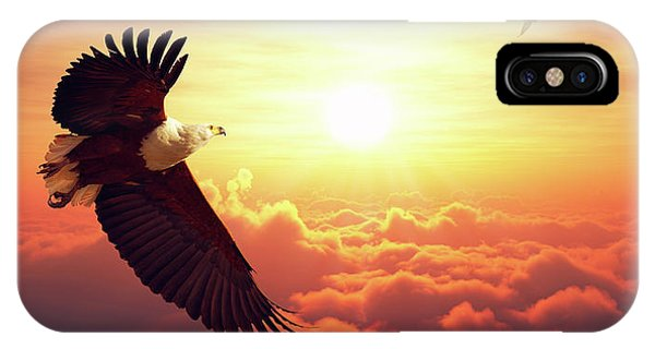 Achievement iPhone Case - Fish Eagle Flying Above Clouds by Johan Swanepoel