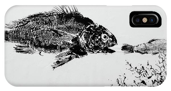 Wiese iPhone Case - Fish Print On Butcher Paper by Marilynn Wiese