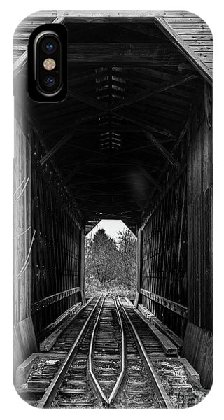 Trestle iPhone Case - Fisher Covered Railroad Bridge Black And White by Edward Fielding