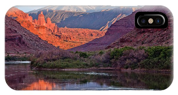 Fisher Towers Sunset Reflection IPhone Case