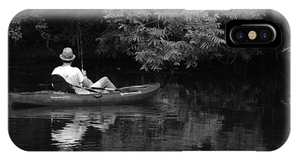 Fisherman On Lady Bird Lake - Bw IPhone Case