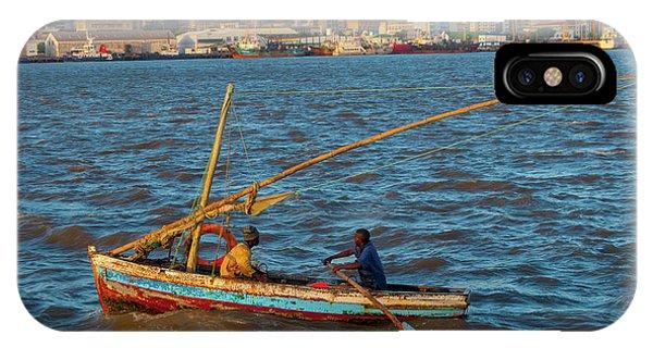 Fishermen Rowing Near Maputo IPhone Case